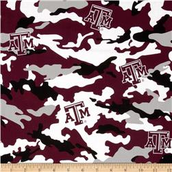 Texas A&M Cotton Broadcloth Camouflage Maroon