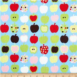 Mecca for Moderns Pippin Apples Light Blue Fabric