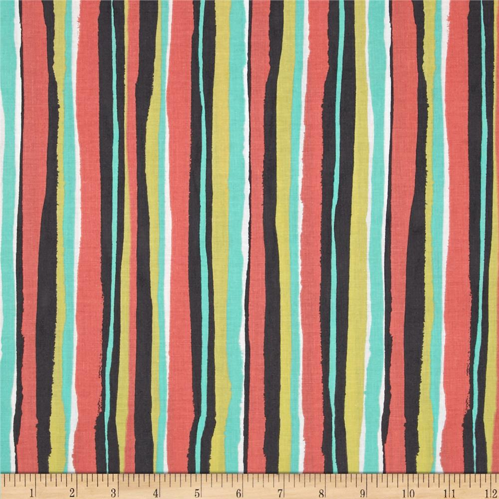 Michael Miller Migration Palm Stripe Coral