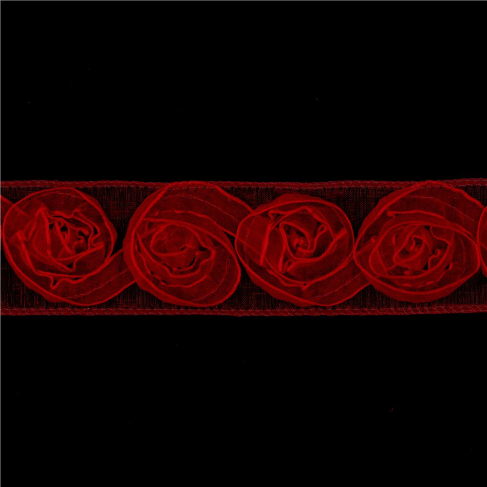 1 1/2'' Organza Rosette Ribbon Red