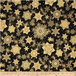 Robert Kaufman Holiday Flourish Metallic Snowflakes Antique