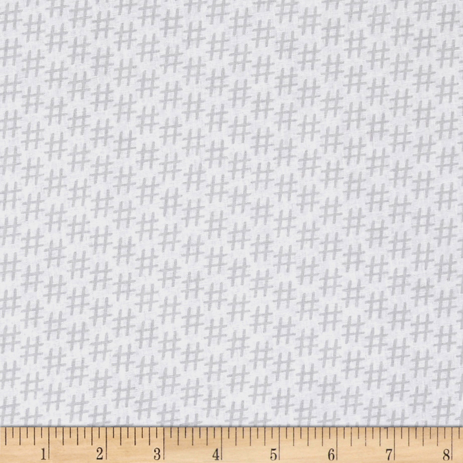 Designed by MY KT for Windham Fabrics this cotton print features the 21st century topic symbol hashtags all across the fabric #Hashtag Everything. This is fabric is perfect for quilting apparel and home decor accents. Colors include white and grey.