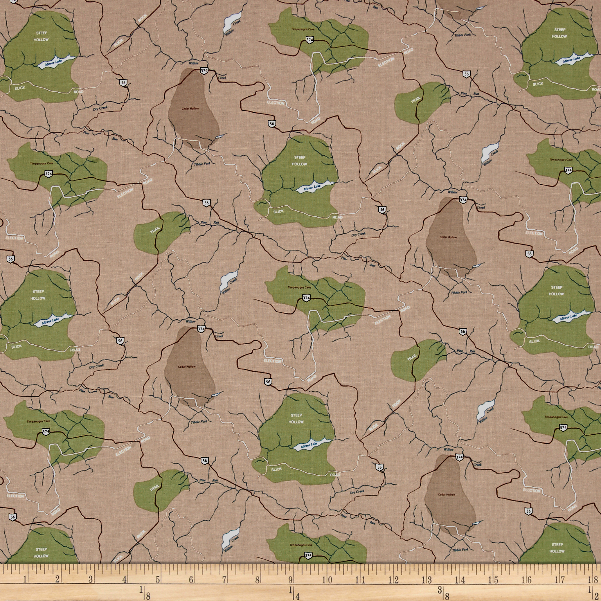 Riley Blake Jeep Map Brown Fabric