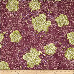 Lavender and Lace Floral Bunches Purple Fabric