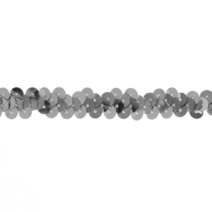 "3/8"" Stretch Metallic Sequin Trim Silver"