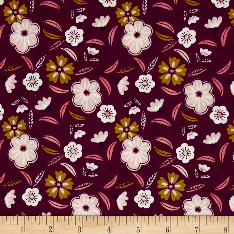 Captivate Floral Dark Plum Fabric by Eugene in USA