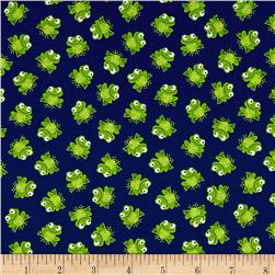 Timeless Treasures Mini's Frogs Navy