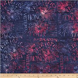 Island Batik Quilted in Honor Batik Patriotic Words Navy/Red