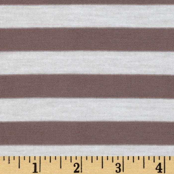 Yarn Dyed Jersey Knit Stripe Taupe/White