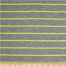 Designer Yarn Dyed Jersey Knit Stripes Neon/Grey