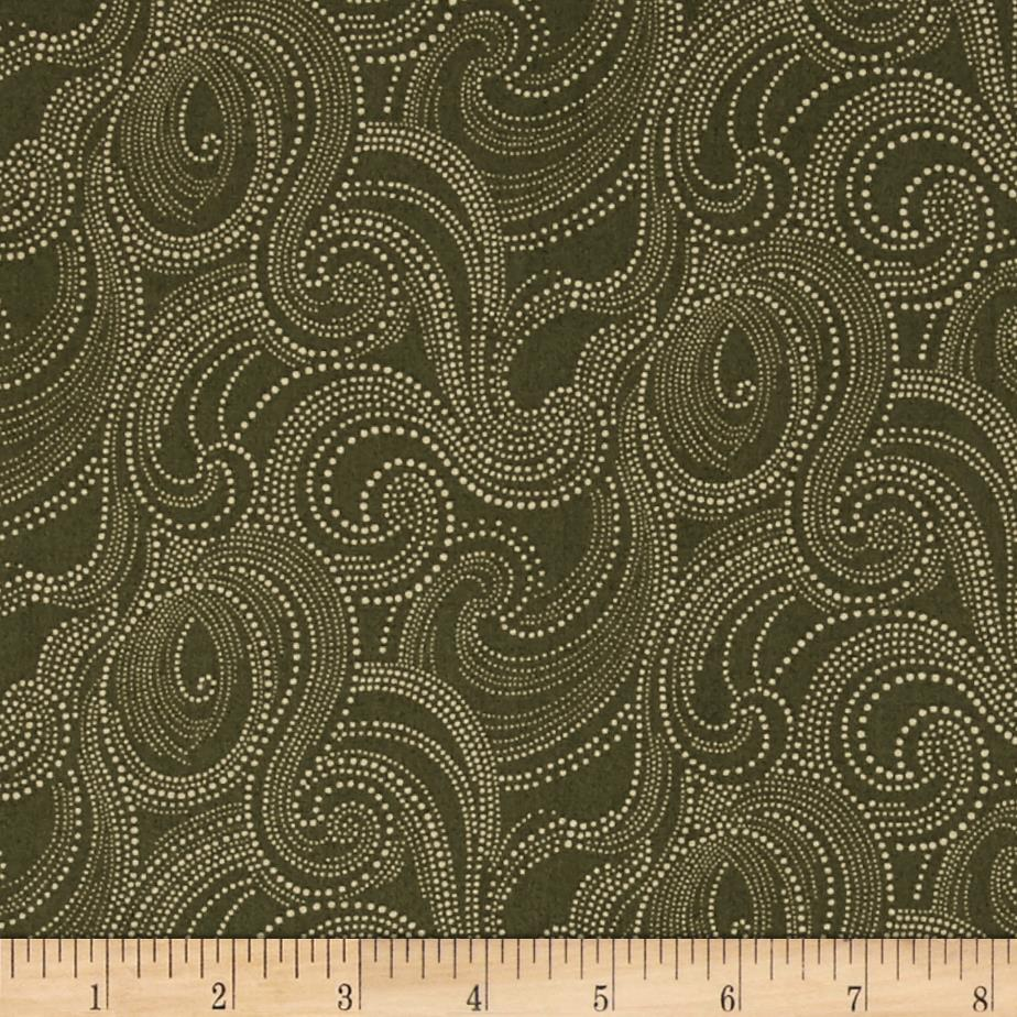 Imperial Dotted Scroll Olive Green