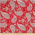 Merry Mistletoe Paisley Red