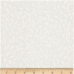 Whisper Prints Small Branches Tonal White Fabric