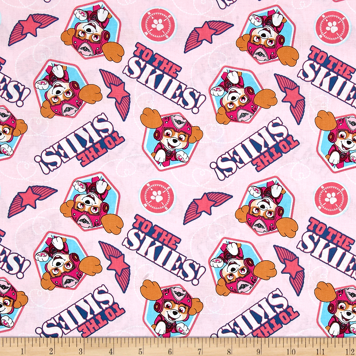 Nickelodeon Paw Patrol Pup To The Skies Pink Fabric