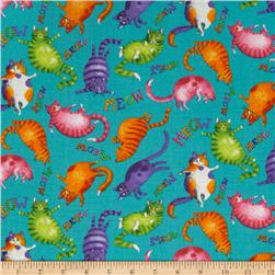 Moda Prisma Cats Meow Kitties Turquoise
