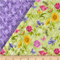 Block Party Double Sided Quilted Floral Green Fabric