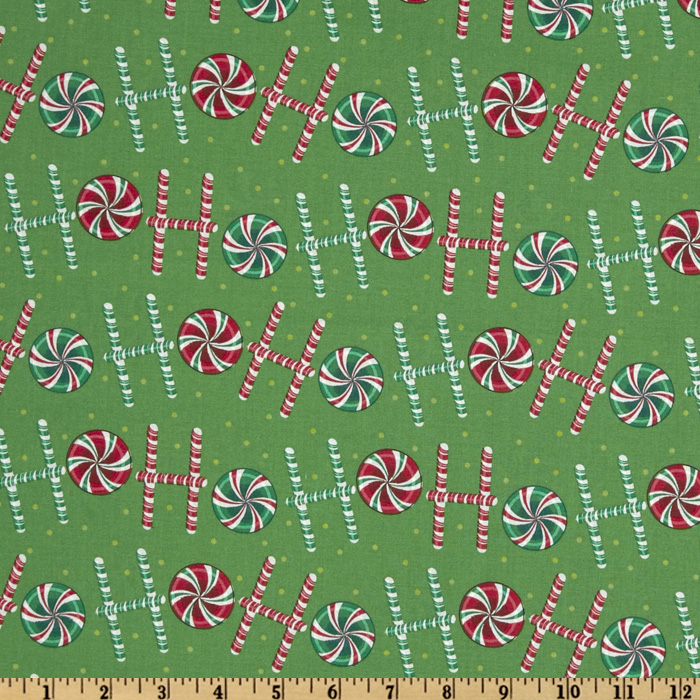 Ho Ho Ho Candy Canes Green Fabric