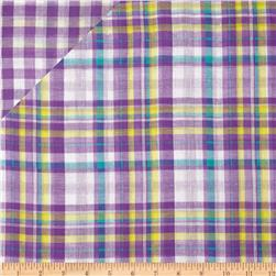 Double Cloth Yarn Dyed Shirting Plaid Purple/Yellow