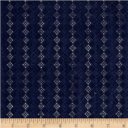 Cotton Eyelet Diamond Navy