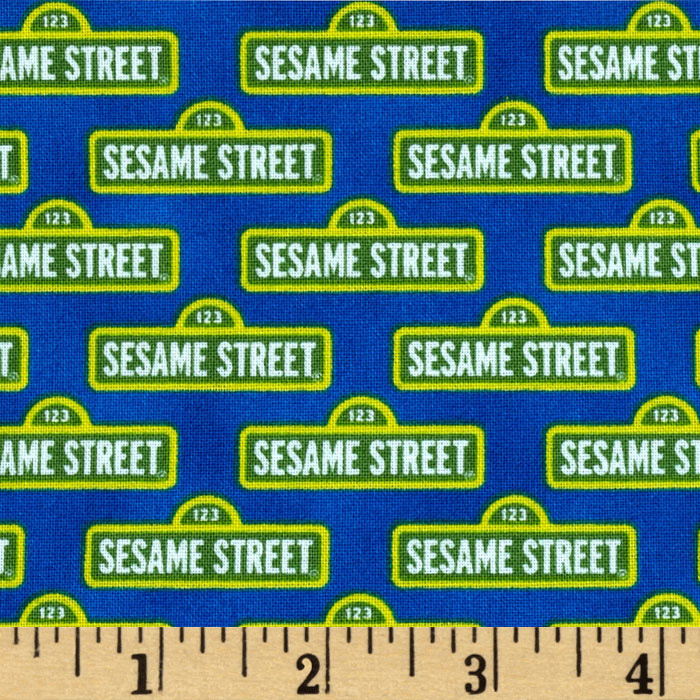 Welcome to Sesame Street Street Signs Blue Fabric