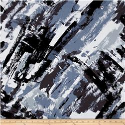 Rayon Challis Paint Strokes Grey/Black
