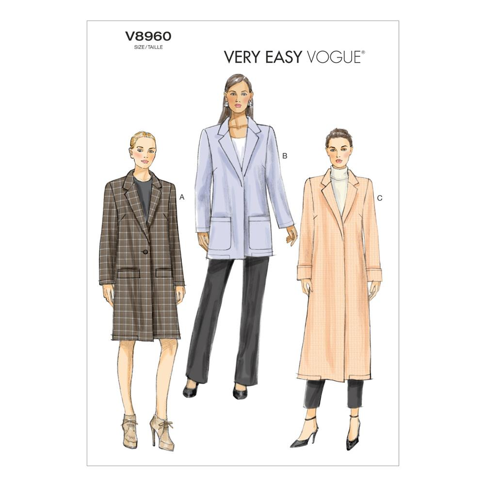 Vogue Misses' Coat Pattern V8960 Size A50