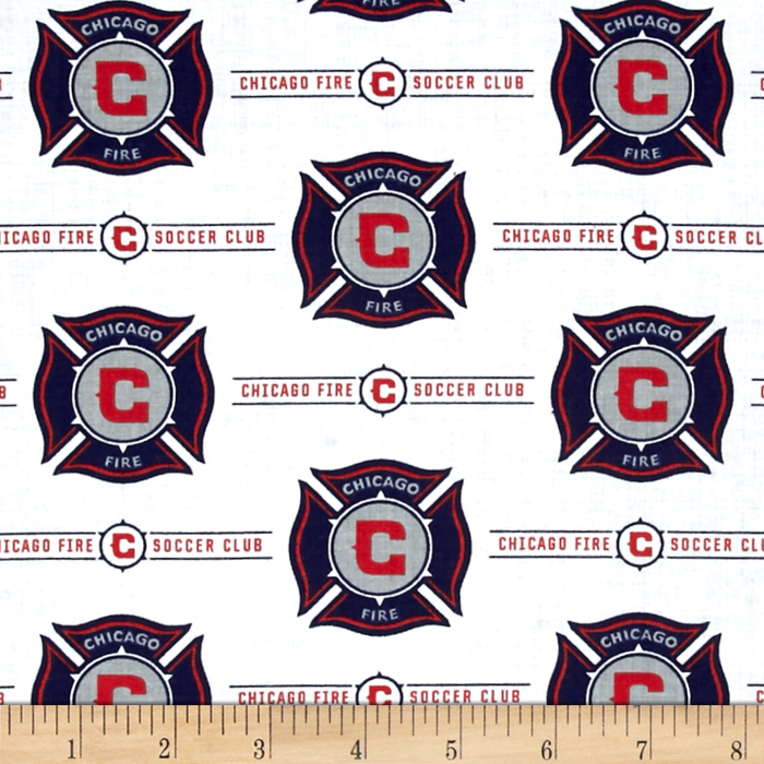 MLS Cotton Broadcloth Chicago Fire White Fabric by Fabric Traditions in USA