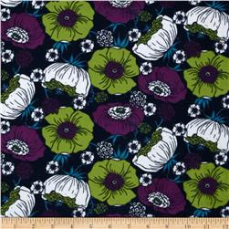 Kaufman 21 Wale Cool Cords Flowers Indigo Fabric
