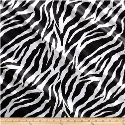 Charmeuse Satin Large Zebra Black/White Fabric