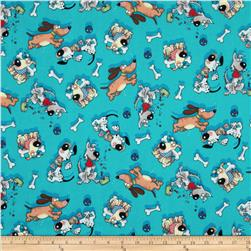 Fabri-Quilt Cuddle Flannel Happy Dogs Turquoise Fabric