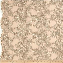 Heavyweight Embroidered Mesh Lace Champagne
