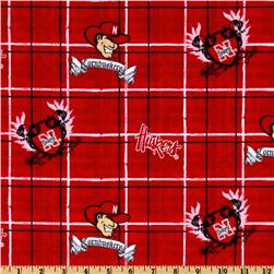 Collegiate Cotton Broadcloth University of Nebraska Plaid Red