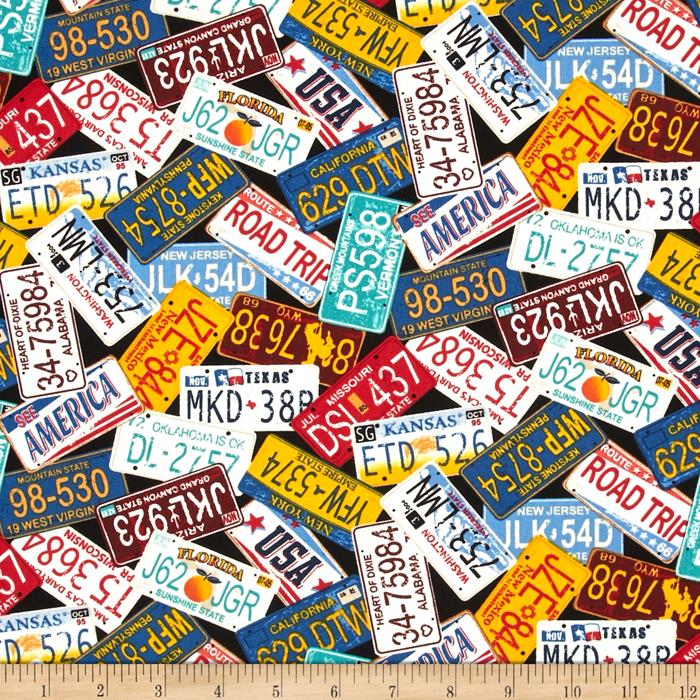 Timeless Treasures License Plates Multi Discount