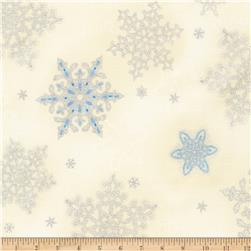 Kaufman Holiday Flourish Metallic Snowflakes Blue