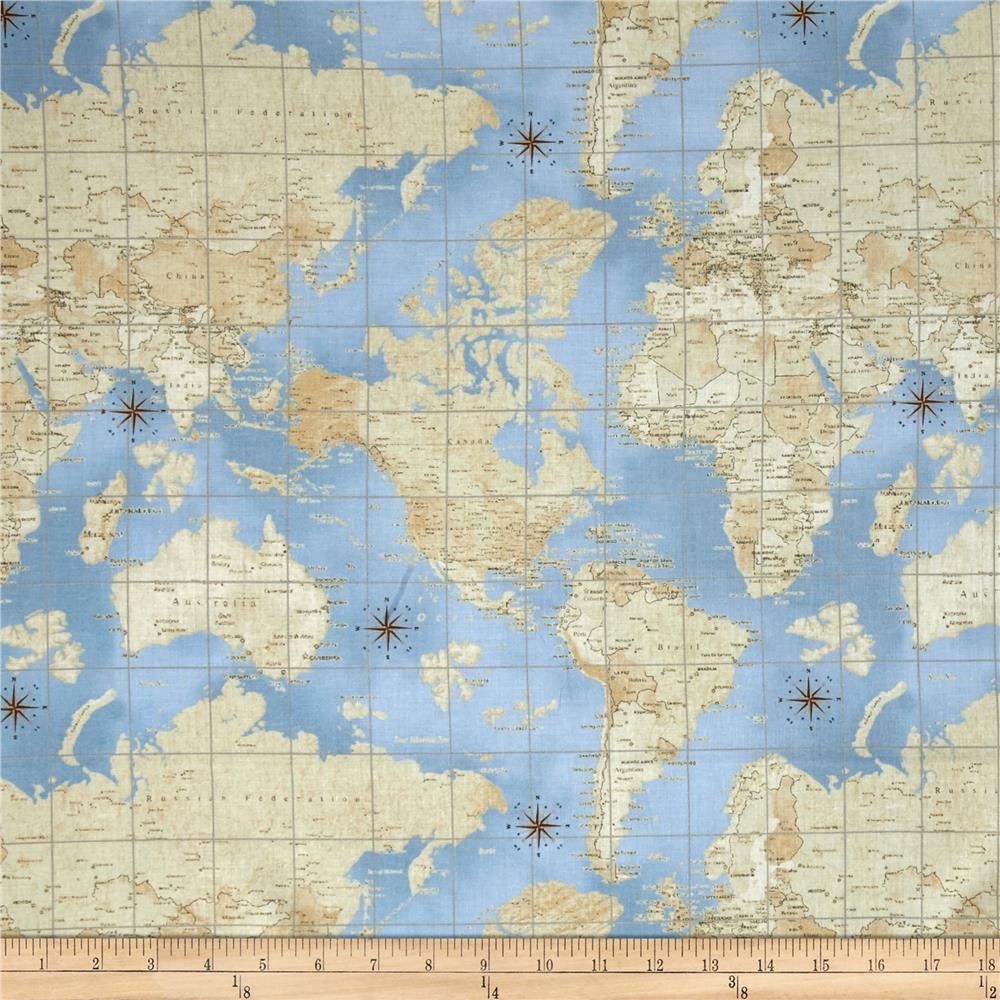 World Map Print Fabric.Theory Of Aviation World Map Multi Discount Designer Fabric Fabric