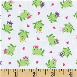 Timeless Treasures Fairy Tale Mini Frog Prince Toss White