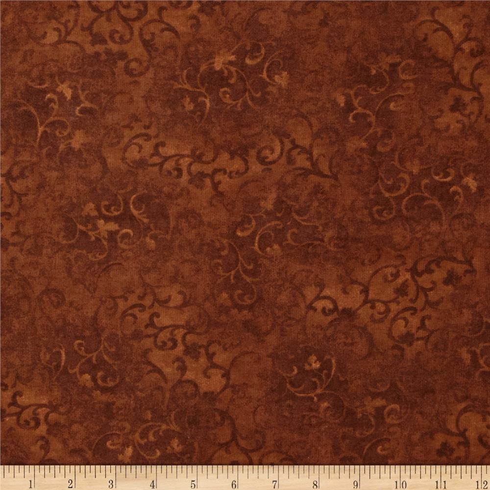 "108"" Essential Flannel Quilt Back Scroll  Choclate"