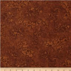 "108"" Essential Flannel Quilt Backing Scroll Chocolate"