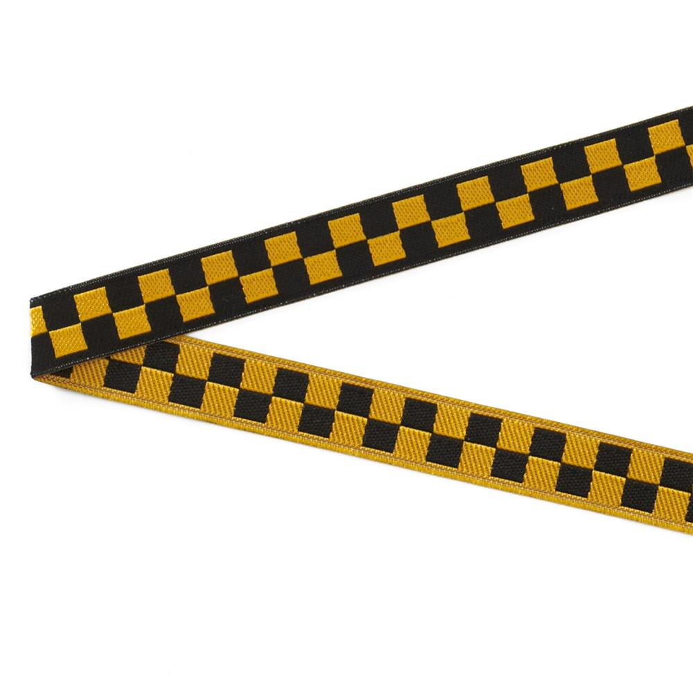 "3/8"" Luella Doss Black & Gold Checkerboard Ribbon"