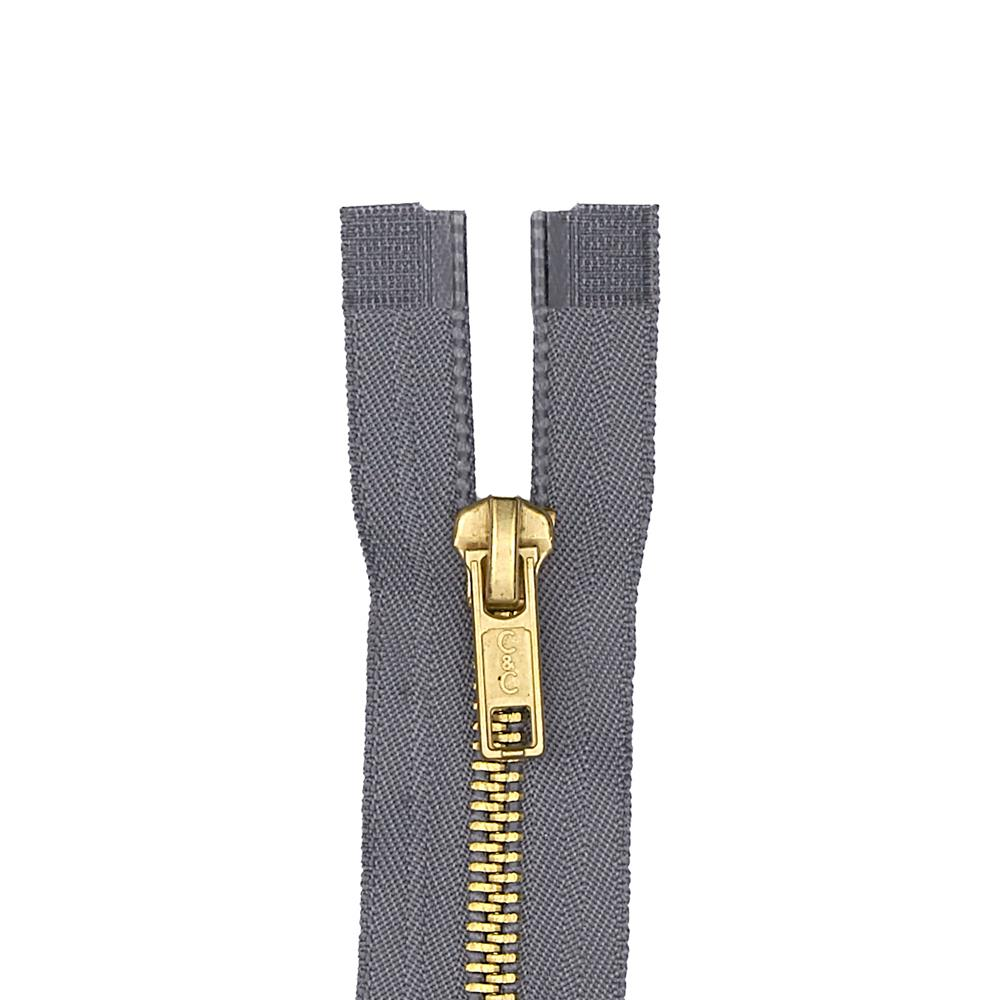 "Coats & Clark Heavy Weight Brass Separating Zipper 20"" Slate"