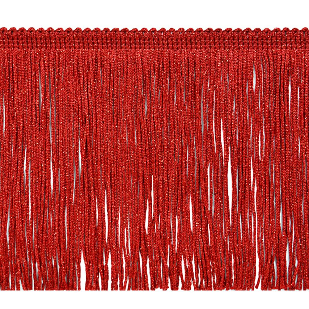 "6"" Metallic Chainette Fringe Trim Red"