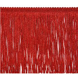 6'' Metallic Chainette Fringe Trim Red