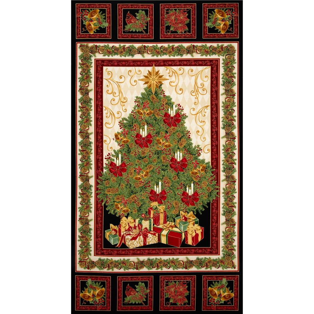 Timeless Treasures Comfort & Joy Metallic Christmas Tree Panel Black