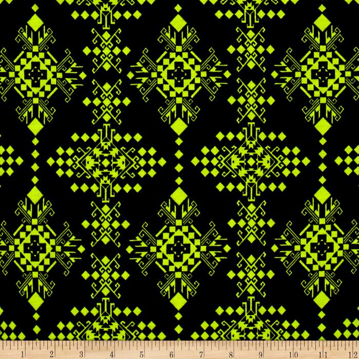 Jersey Knit Abstract Diamond Neon Yellow