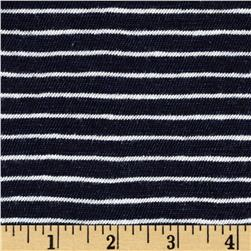 Designer Cotton Yarn Dyed Knit Stripes Navy Blue/Ivory