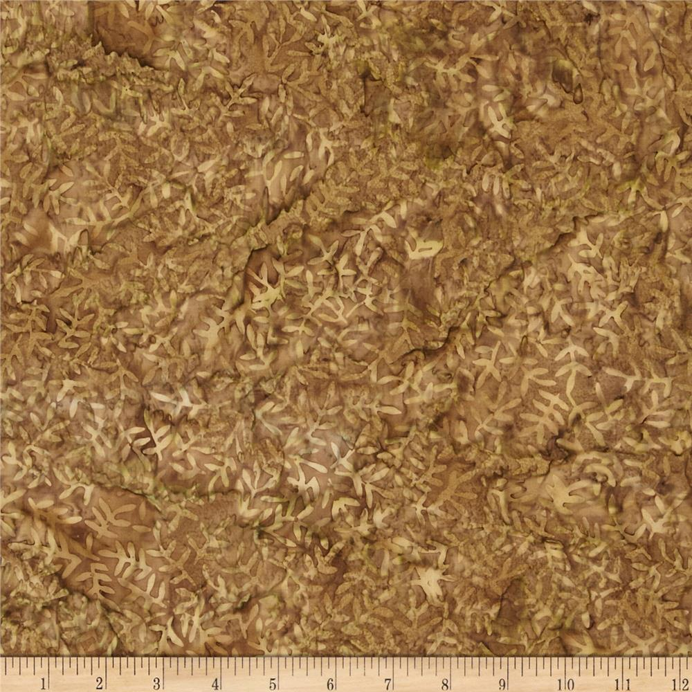 108'' Wide Tonga Batik Quilt Backing Viney Leaf Tan