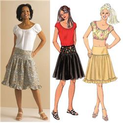 Kwik Sew Peasant Tops & Yolked Skirts Pattern