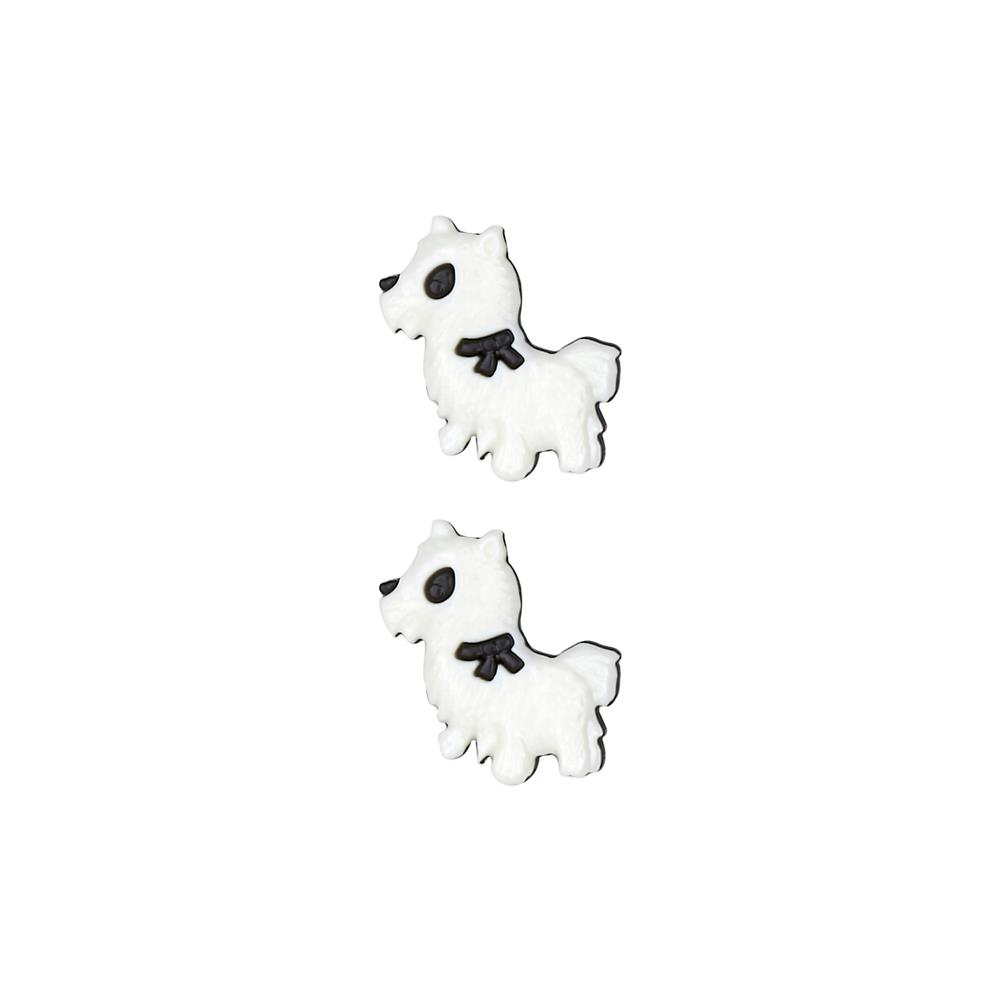Dill Novelty Button 7/8'' Dog White