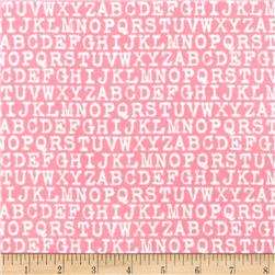 Cozy Cotton Flannel Alphabet Pink Fabric