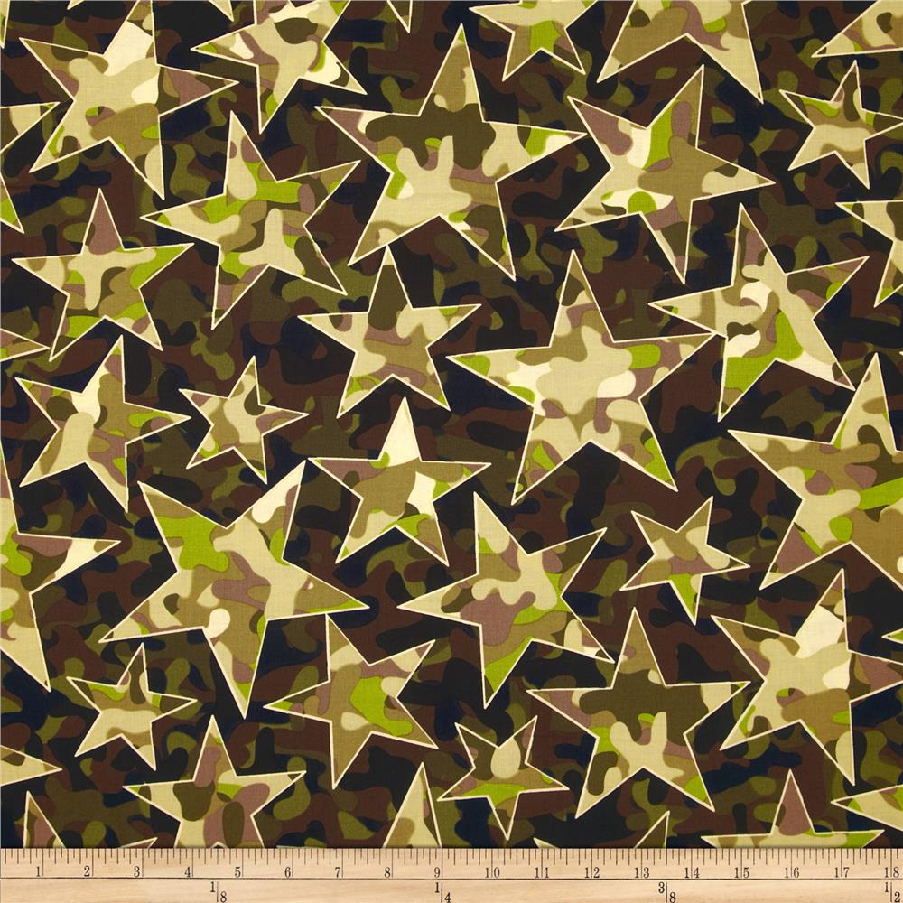 Kanvas camo mix 4 star camo olive discount designer for Star design fabric